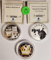SILVER PLATED MEMORIAL COINS (13)