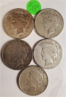 LOT OF 5 SILVER PEACE DOLLARS (58)
