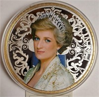 LARGE PRINCESS DIANA SILVER/GOLD PLATED COIN (21)