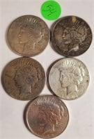 LOT OF 5 SILVER PEACE DOLLARS (54)