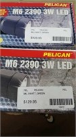 2 Each Pelican M6 3 Watt Green Flashlight New