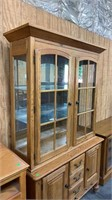 2 Piece Hutch Top Cabinet W Glass Shelves
