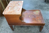 Step Back Marble Top End Table: Damaged