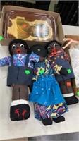 Handmade Black Dolls African Child Tray,