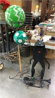 Metal Frog Playing Horn; Broken Arms, Plant Stand