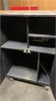 """Black Wooden 2 Door Cabinet On Wheels: 38""""25""""54"""""""