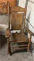 """Wooden & Wicker Rocking Chair: Damaged, 28""""32""""46"""