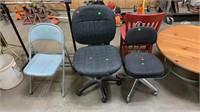 2 Rolling Office, 1 Blue Folding Chair