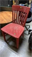 Red Wood Chair: Split In Seat