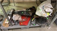 Assorted Mower Parts, Blades, Cabling, Small Motor