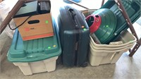 Empty Totes, Rolling Suitcase, X'mas Tree Stand