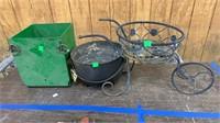 Metal Pot, Metal Plant Stand, Green Metal Box