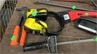 Large Pipe Wrench, Prybar, Scraper, Brush, Riveter