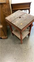 Wooden Turtle Footstool, Rustic End Table: Damaged