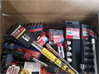Box Of Assorted Brand Sockets, Ratchet, Rail