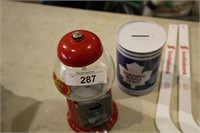 GUMBALL MACHINE. MAPLE LEAF COIN BANK