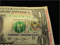 RARE CURRENCY TRACKING 1 DOLLAR BILL