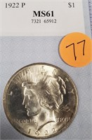 1922 SILVER PEACE DOLLAR MS61 (77)