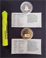 2 LARGE GOLD PLATED COINS; SILVER PLATED COIN(113)