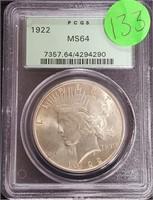 "1922 ""MS64"" - SILVER PEACE DOLLAR (133)"
