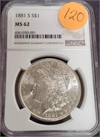 "1881 ""S"" ""MS62"" - SILVER MORGAN DOLLAR (120)"