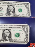 LOT OF 2 LUCKY 777 DOLLAR NOTES (80)