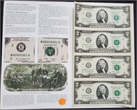 UNCUT SERIES 2009 $2 DOLLAR NOTES (167)