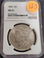 "1886 ""MS61"" - SILVER MORGAN DOLLAR (123)"
