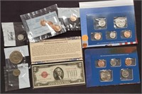 MIXED LOT OF COINS & $2 DOLLAR RED SEAL NOTE (169)