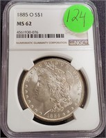 "1885 ""O"" ""MS62"" - SILVER MORGAN DOLLAR (124)"