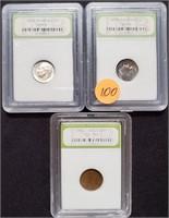 LOT OF 2 ROSEVELT DIMES & 1930 PENNY (100)