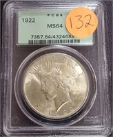 "1922 ""MS64"" - SILVER PEACE DOLLAR (132)"