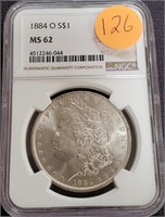 "1884 ""O"" ""MS62"" - SILVER MORGAN DOLLAR (126)"
