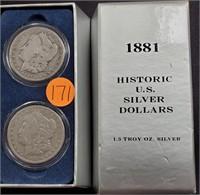1881 - HISTORIC U.S. SILVER DOLLARS (171)