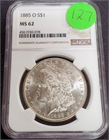 "1885 ""O"" ""MS62"" - SILVER MORGAN DOLLAR (127)"