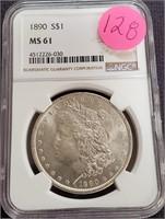 "1890 ""MS61"" - SILVER MORGAN DOLLAR (128)"
