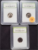 LOT OF 3 GRADED DIMES - SEE PICS (99)