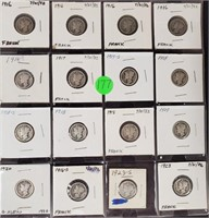 COLLECTION OF SILVER DIMES - SEE PICS (177)