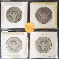 LOT OF 4 BARBER SILVER HALF DOLLARS (182)