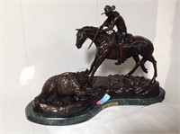 Frederick Remington,  bronze  on marble, Double