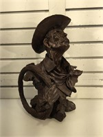 Resin cowboy with rope bust, 16 inches H,