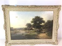 Antique landscape, pond scene with children,
