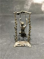 Vintage Bronze Lady on a Swing, 9.5 inch