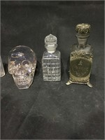 Vintage crystal skull, antique Cologne bottle w/