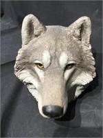 Life size realistic Wolf head, ceramic