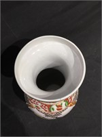 China hand painted vase, 24 in H, vg condition