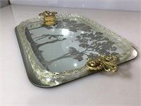 Vintage Etched glass serving tray with courting