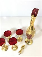 Ruby glass with gold decanter and 6 goblet set,