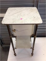 Antique brass and marble Dentist stand, Porcelain