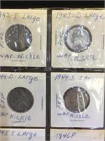 3 sheets of assorted Jefferson Nickels in flips -
